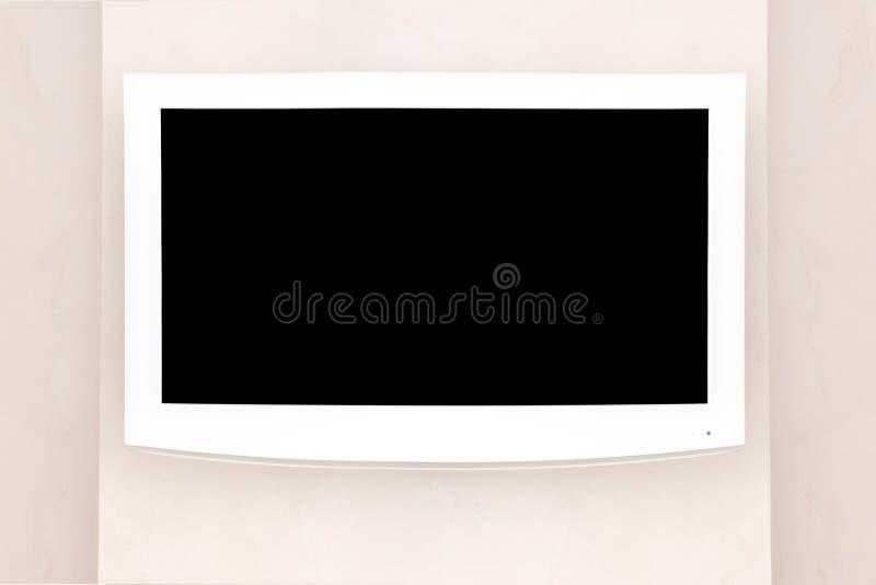 Biały DOWODZONY TV mockup, egzamin próbny dla w górę projektantów z czarnym ekranem na szarej ścianie,/ fotografia royalty free