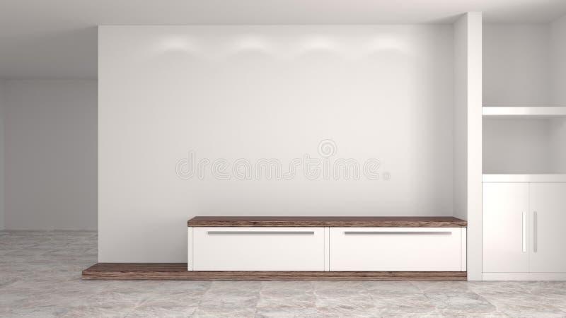Biały drewniany nowożytny gabinet w pustym izbowym wewnętrznym tło domu projektuje 3d ilustrację, odkłada i rezerwuje na biurku w ilustracji