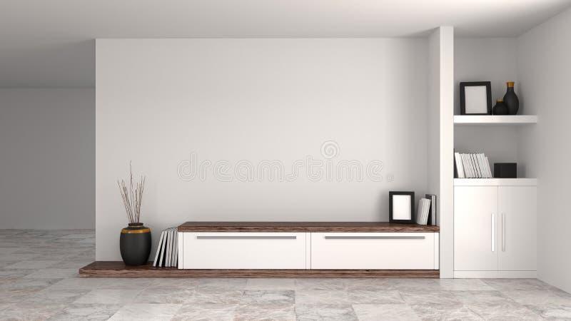 Biały drewniany nowożytny gabinet w pustym izbowym wewnętrznym tło domu projektuje 3d ilustrację, odkłada i rezerwuje przed ścian ilustracja wektor