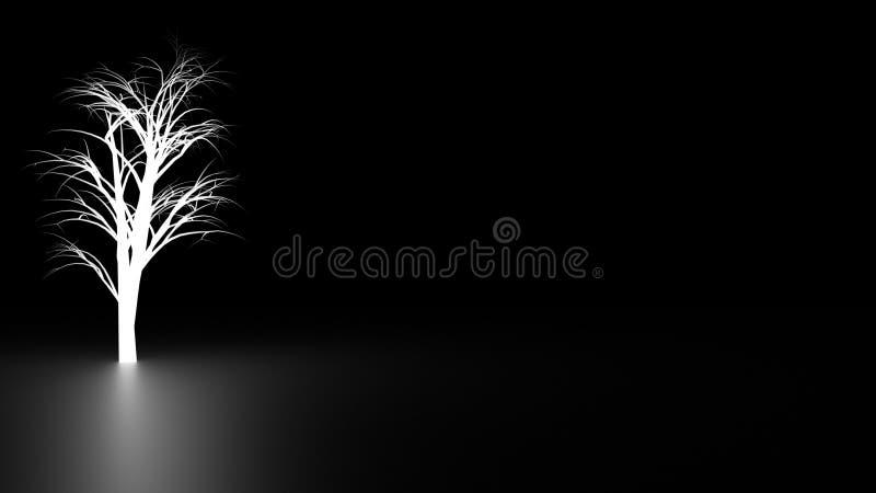 Biały drzewo w zmroku fotografia stock