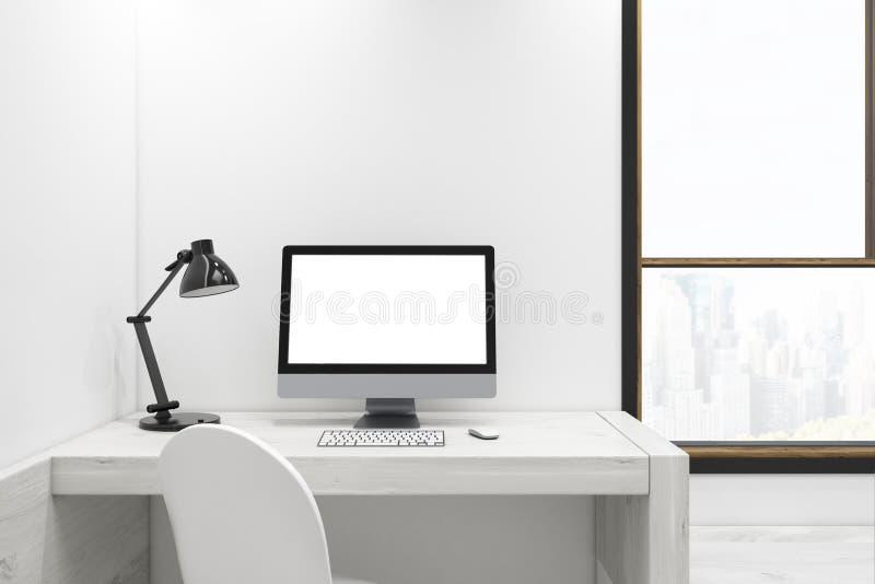 Biały ekran komputerowy na drewnianym biurku royalty ilustracja