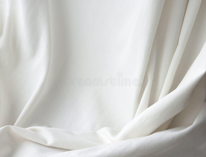 Biały elegancki brezentowy sukienny tekstury draperii tło zdjęcie royalty free