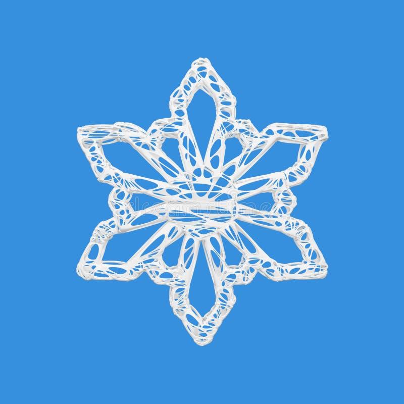 Biały elegancki płatek śniegu odizolowywający na błękitnym tle Bożenarodzeniowy element w magicznym openwork stylu 3 d czynią ilustracja wektor