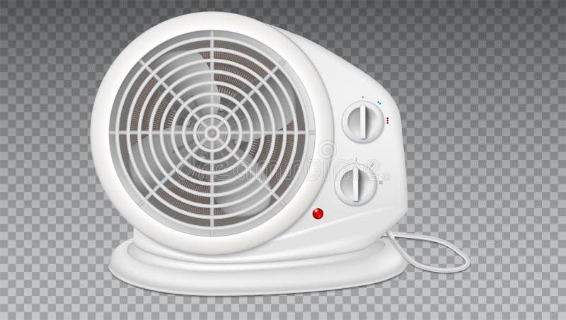 Biały elektryczny nagrzewacz z fan, kaloryferowy urządzenie royalty ilustracja