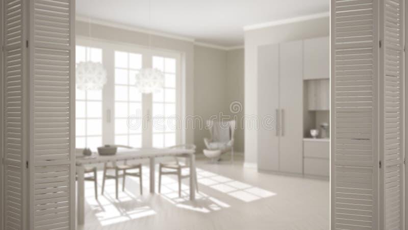 Biały falcowania drzwi otwarcie na klasycznej kuchni z łomotać stołowego i dużego okno, biały wewnętrzny projekt, architekta proj ilustracja wektor