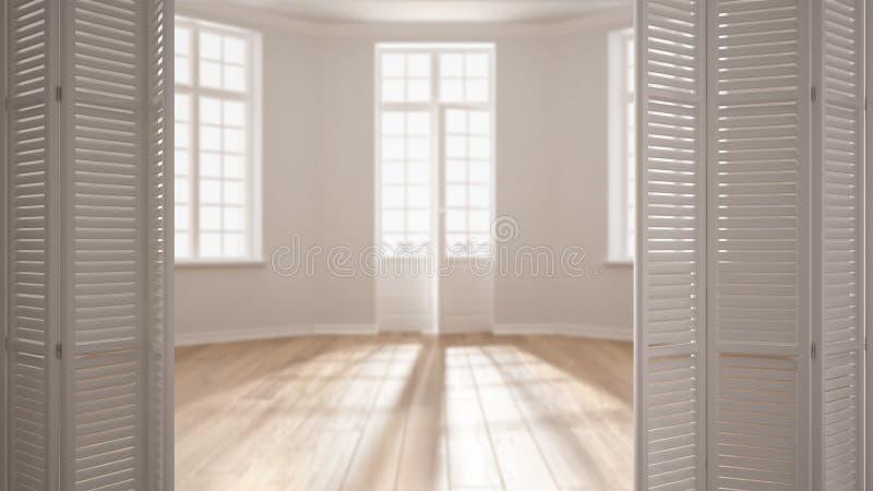 Biały falcowania drzwi otwarcie na nowożytnego scandinavian pustej przestrzeni z panoramicznymi okno, biały wewnętrzny projekt, a zdjęcia royalty free