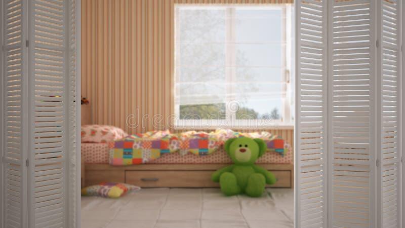 Biały falcowania drzwi otwarcie na nowożytnej nowożytnej barwionej dziecko sypialni z pojedynczym łóżkiem, wewnętrzny projekt, ar obrazy stock