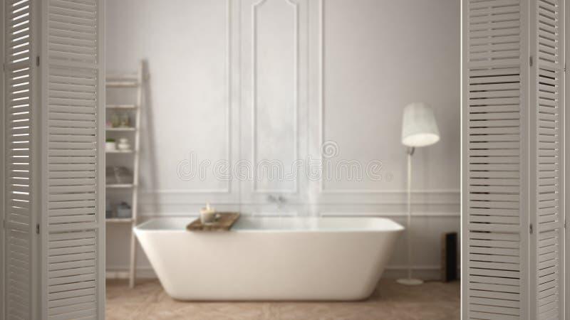 Biały falcowania drzwi otwarcie na nowożytnej scandinavian łazience z wanną, biały wewnętrzny projekt, architekta projektanta poj royalty ilustracja