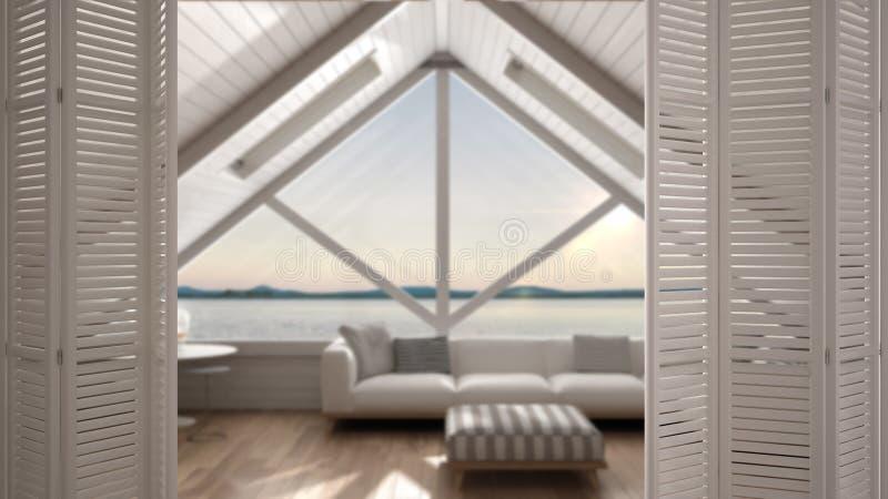 Biały falcowania drzwi otwarcie na nowożytnym mezoninie z panoramicznym okno, biały wewnętrzny projekt, architekta projektanta po royalty ilustracja