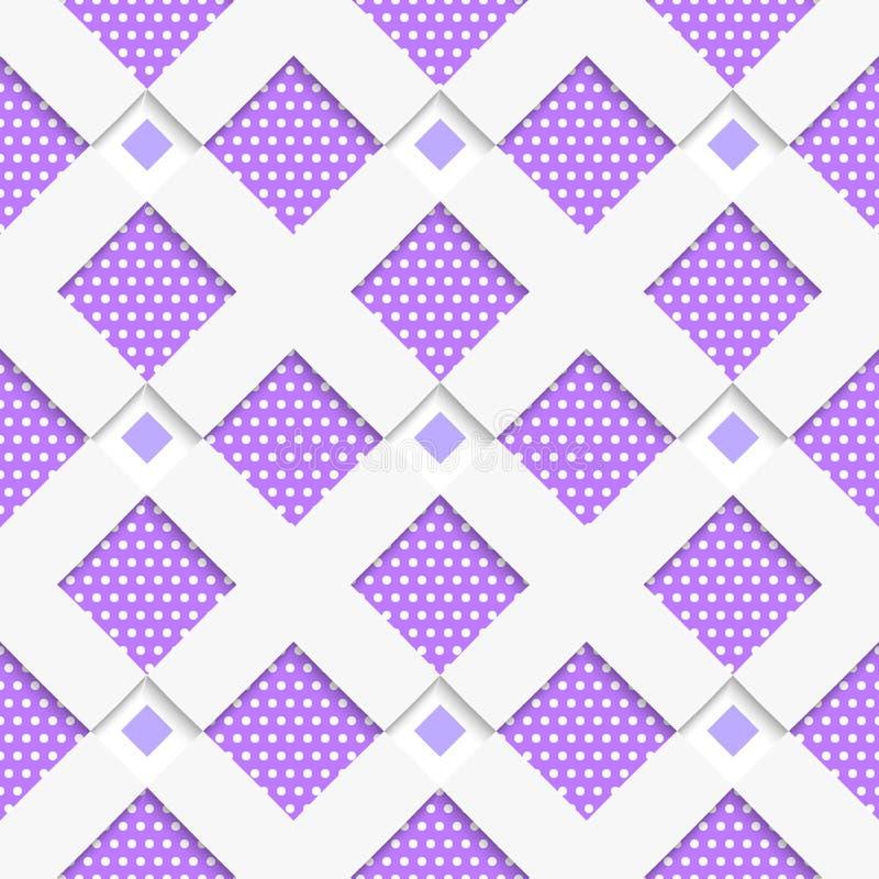 Biały geometrical ornament z biel siecią i kropek purpur textur ilustracja wektor