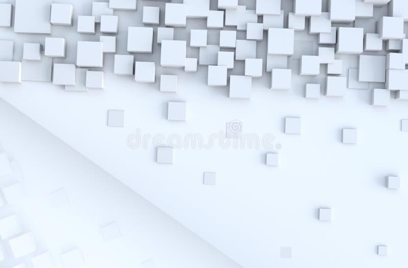 Biały geometryczny sześcian kształtuje tło ilustracji