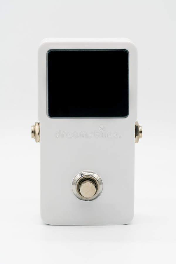 Biały gitara następu skutek, Strompbox, z dużym DOWODZONYM parawanowym displa fotografia royalty free