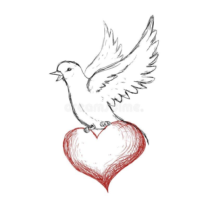 Biały gołąbka symbolu projekt ilustracji