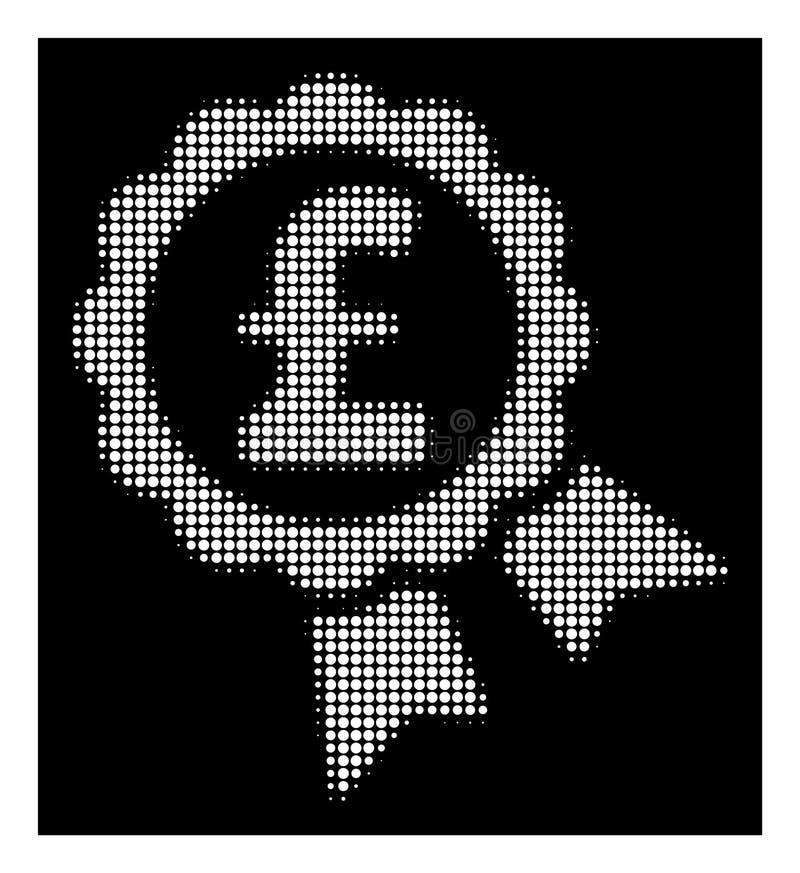 Biały Halftone Uwypuklająca Funtowa ceny etykietki ikona ilustracja wektor