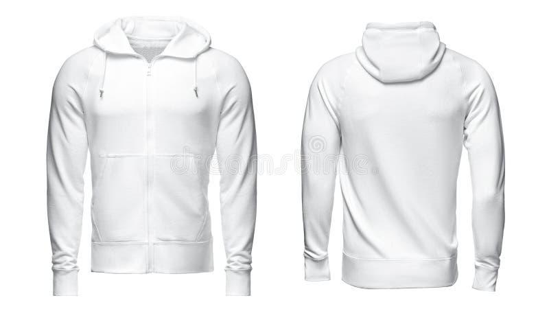 Biały hoodie, bluzy sportowa mockup, odizolowywający na białym tle obraz royalty free