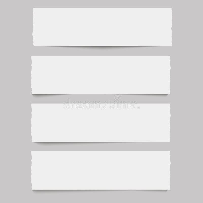 Biały horyzontalny nutowy papier z miękkim cieniem wektor ilustracja wektor