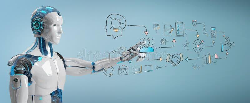 Biały humanoid tworzy sztucznej inteligenci interfejs royalty ilustracja