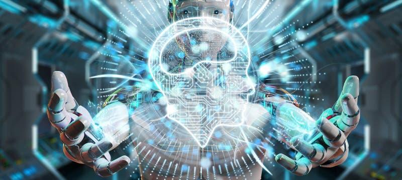 Biały humanoid używać cyfrowego sztucznej inteligenci ikony hologr