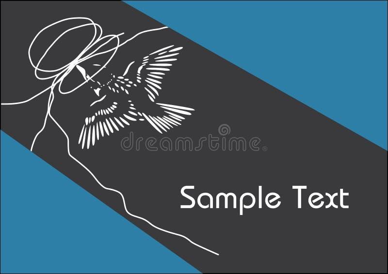 Biały hummingbird przy gniazdeczkiem na błękitnym i czarnym plakatowym szablonie zdjęcia stock