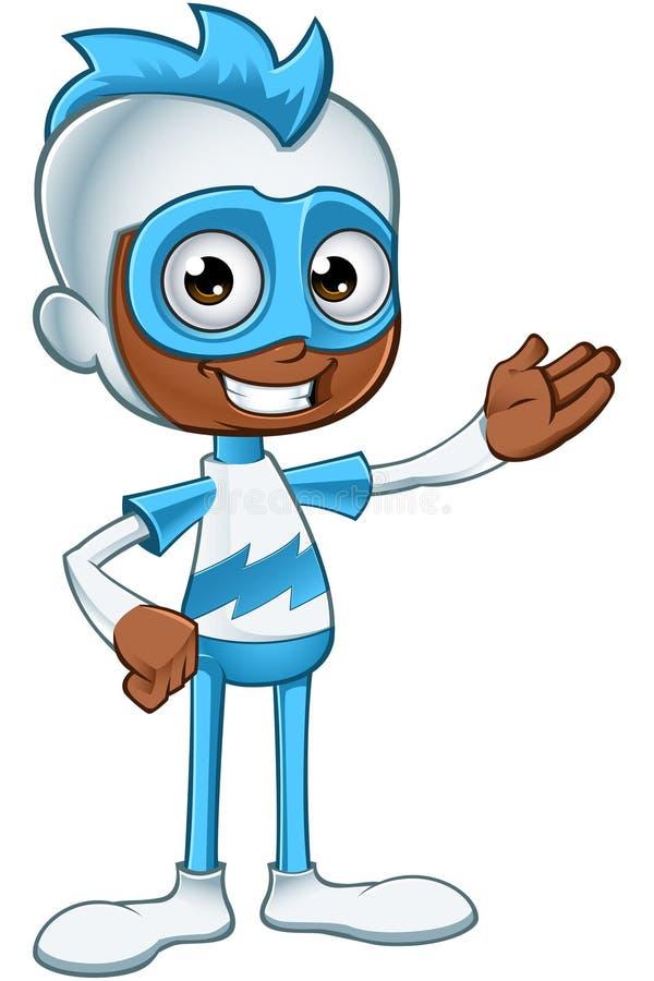 Biały I Błękitny bohater - Przedstawiający ilustracji