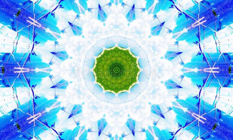 Biały i błękitny mandala z zielonym sednem ilustracja wektor