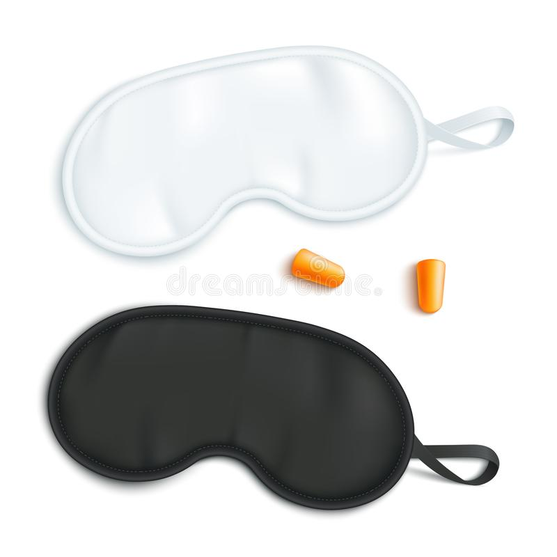 Biały i czarny dosypianie maski mockup z parą zatyczki do uszu w realistycznym stylu ilustracja wektor