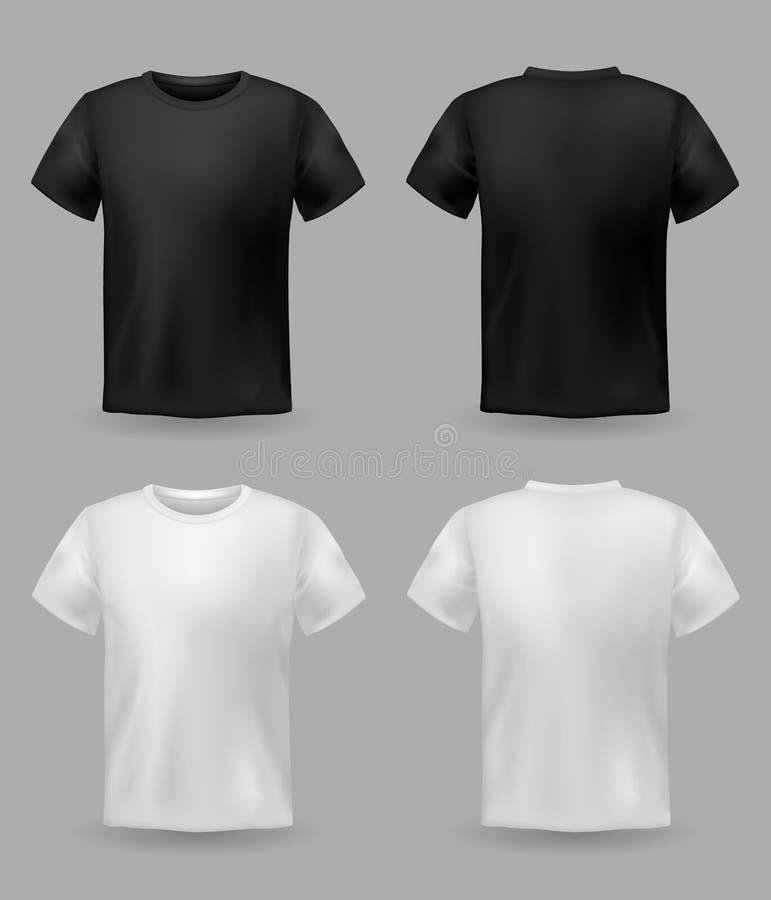 Biały i czarny koszulki mockup Sporta szablonu pusty koszulowy przód, tylny widok, mężczyźni i kobiety, odziewamy dla moda druku ilustracja wektor