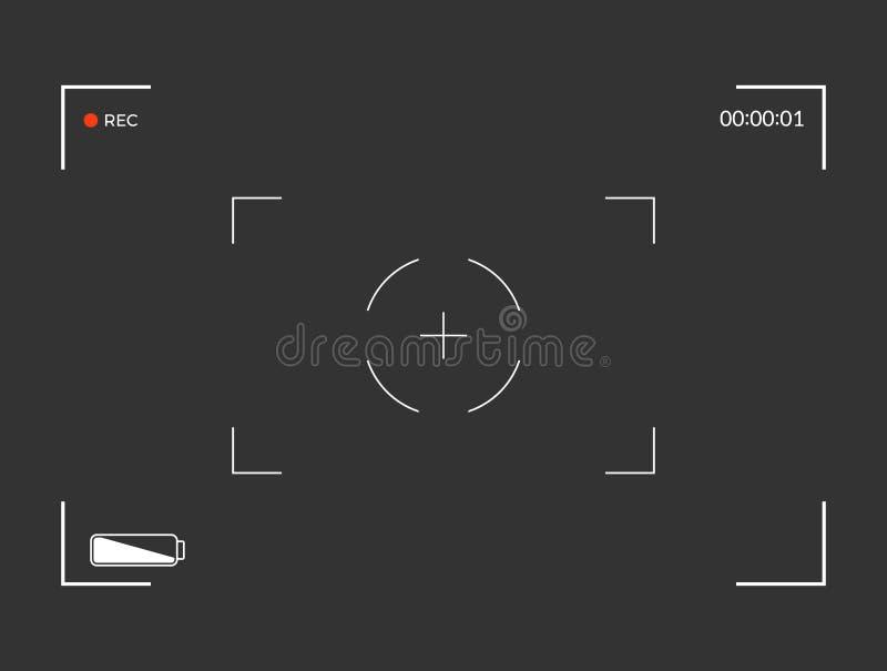 Biały i czarny viewfinder kamery nagranie Nowożytny kamery ogniskowania ekran również zwrócić corel ilustracji wektora ilustracja wektor