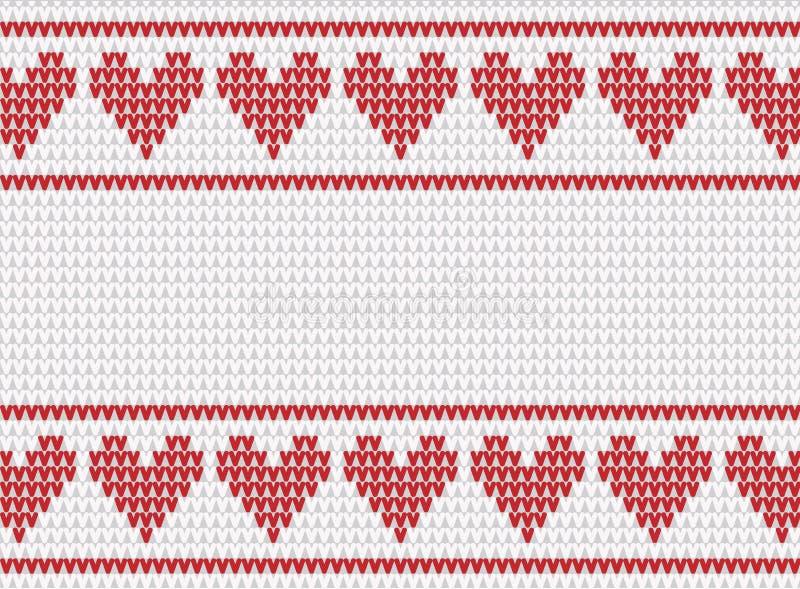 Biały i czerwień trykotowy tło z sercami royalty ilustracja