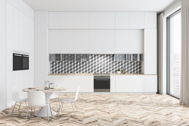 Biały i dachówkowy kuchenny wnętrze z stołem ilustracji
