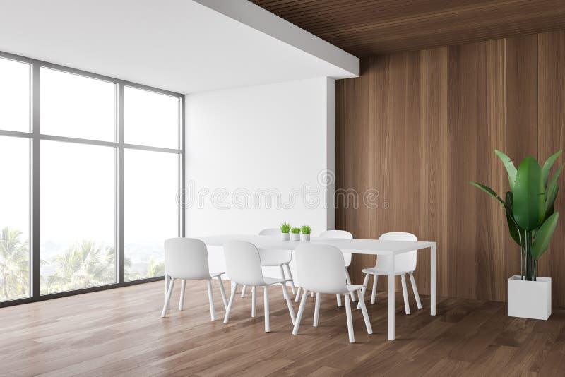 Biały i drewniany pokój jadalny ilustracji