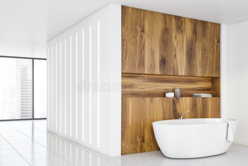 Biały i lekki kącik łazienkowy z wanną ilustracja wektor