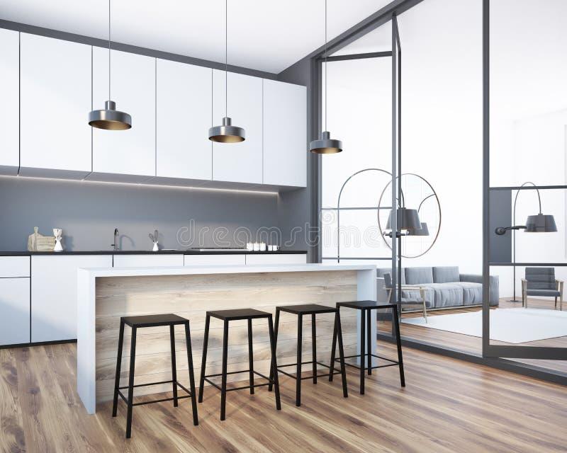 Biały i szary kuchnia bar i żywy pokój ilustracji