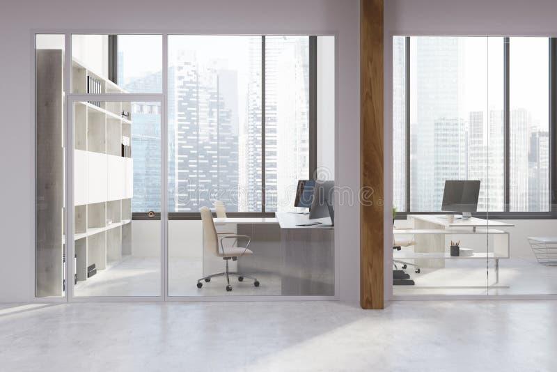 Biały i szklany biuro ilustracja wektor