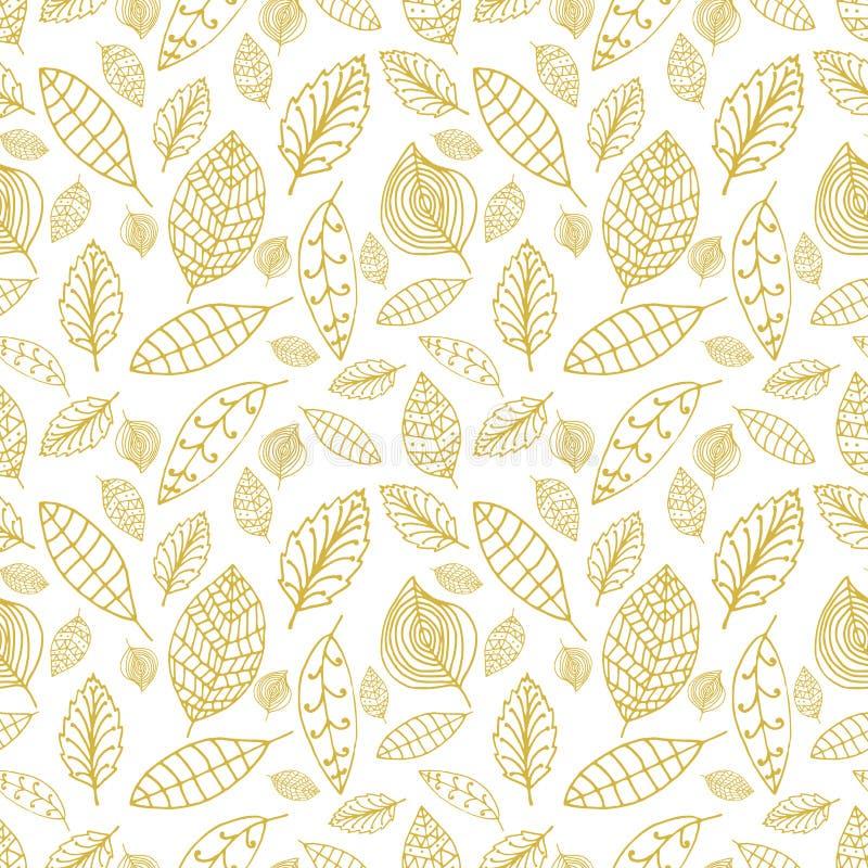 Biały i złocisty bezszwowy wzór z liśćmi Style wręczają patroszonego l royalty ilustracja