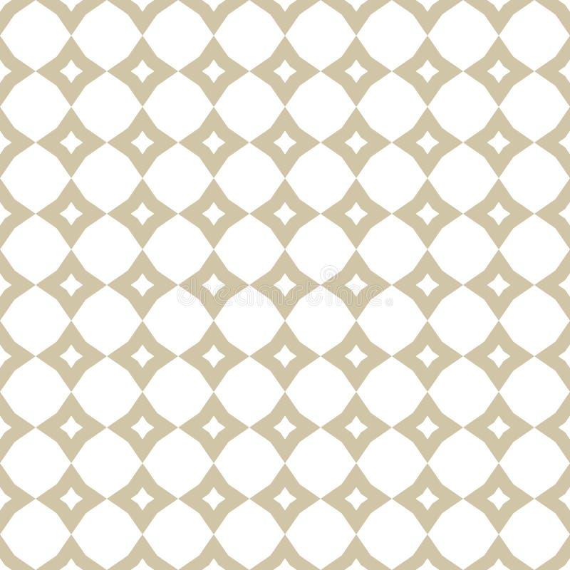 Biały i złocisty geometryczny ornament Z diamentami bezszwowy wzór royalty ilustracja