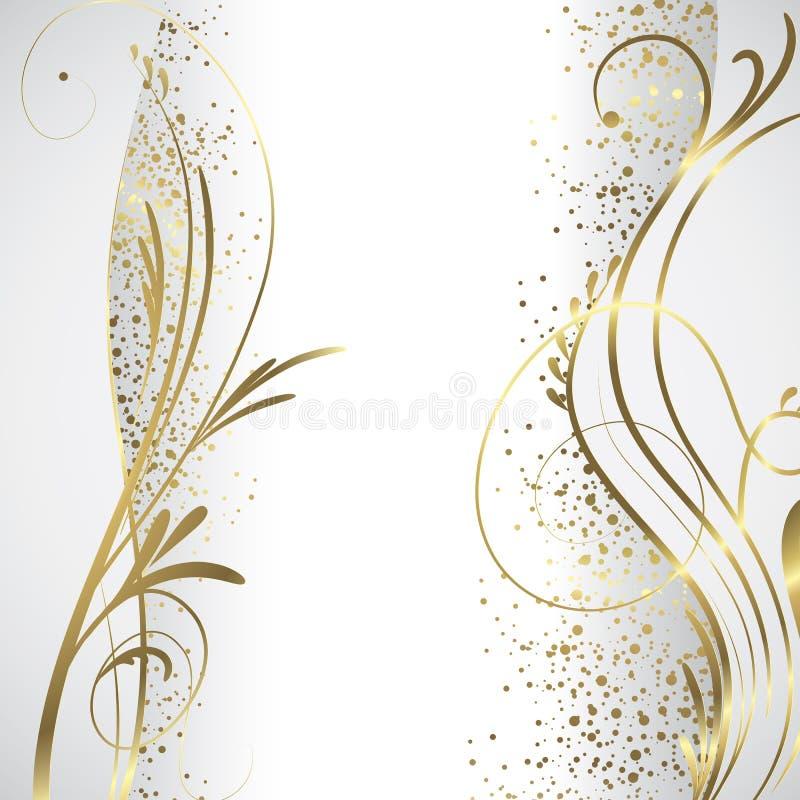 Biały i złocisty tło ilustracja wektor
