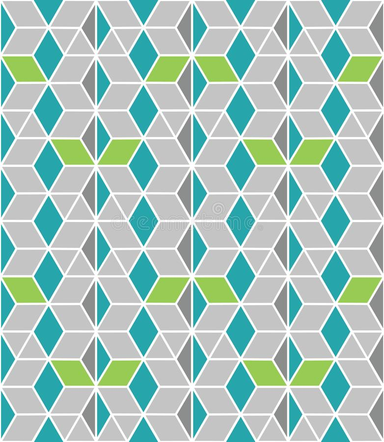 Bia?y i zielony bezszwowy liniowy abstrakcjonistyczny geometrical honeycomb kratownicy wz?r na popielatym tle dla tkaniny, tapeta ilustracji