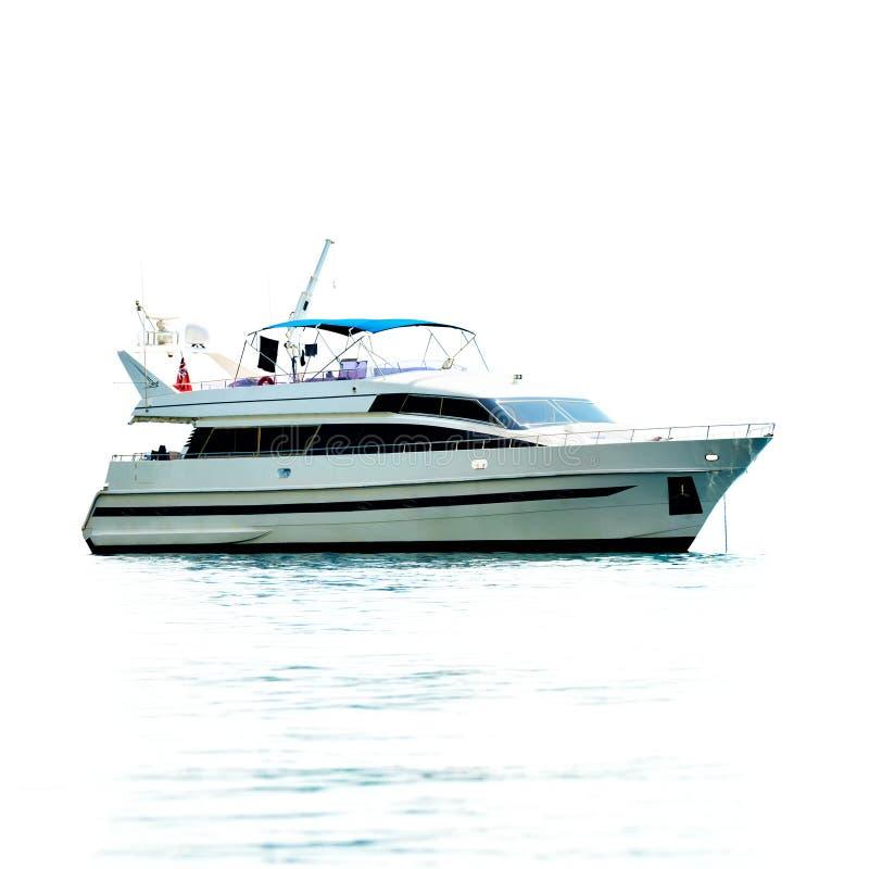 Biały intymny motorowy jacht obraz royalty free