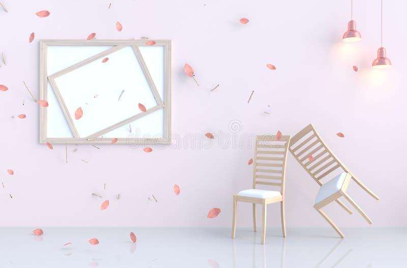 biały izbowy tło wystrój z cios menchii liśćmi, gałąź, ilustracja wektor