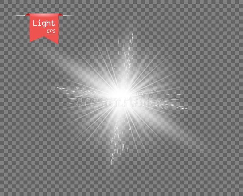 Biały jasny światło słońce Jaskrawy wybuch, błyska błysk z promieniami Gwiazdowy połysk Wektorowy element, odosobniony tło ilustracji