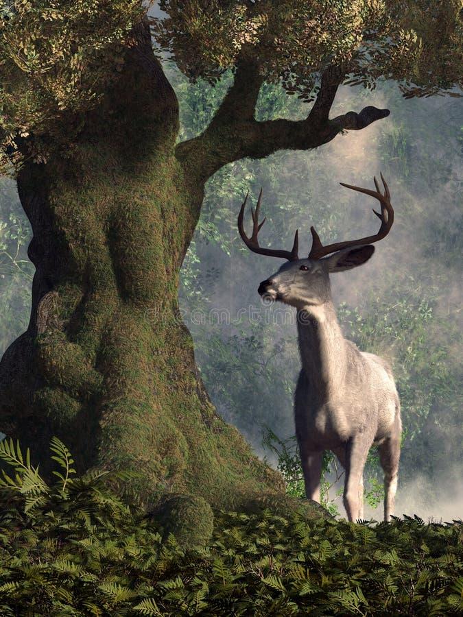Biały jeleń royalty ilustracja