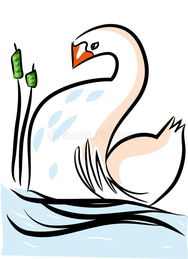 Biały jezioro i łabędź royalty ilustracja