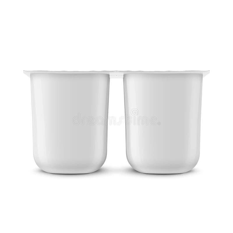 Biały jogurtu garnka szablon ilustracja wektor