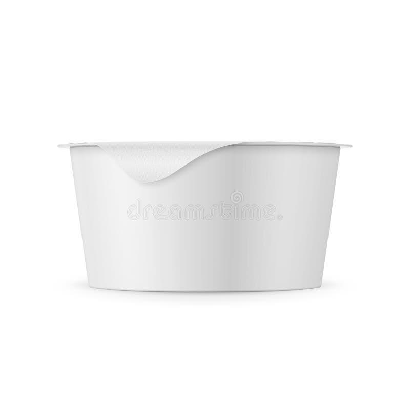 Biały jogurtu garnka szablon royalty ilustracja