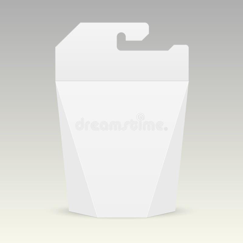 Biały karton niesie pudełkowatą torbę pakuje dla jedzenia, prezenta lub innych produktów, ilustracji