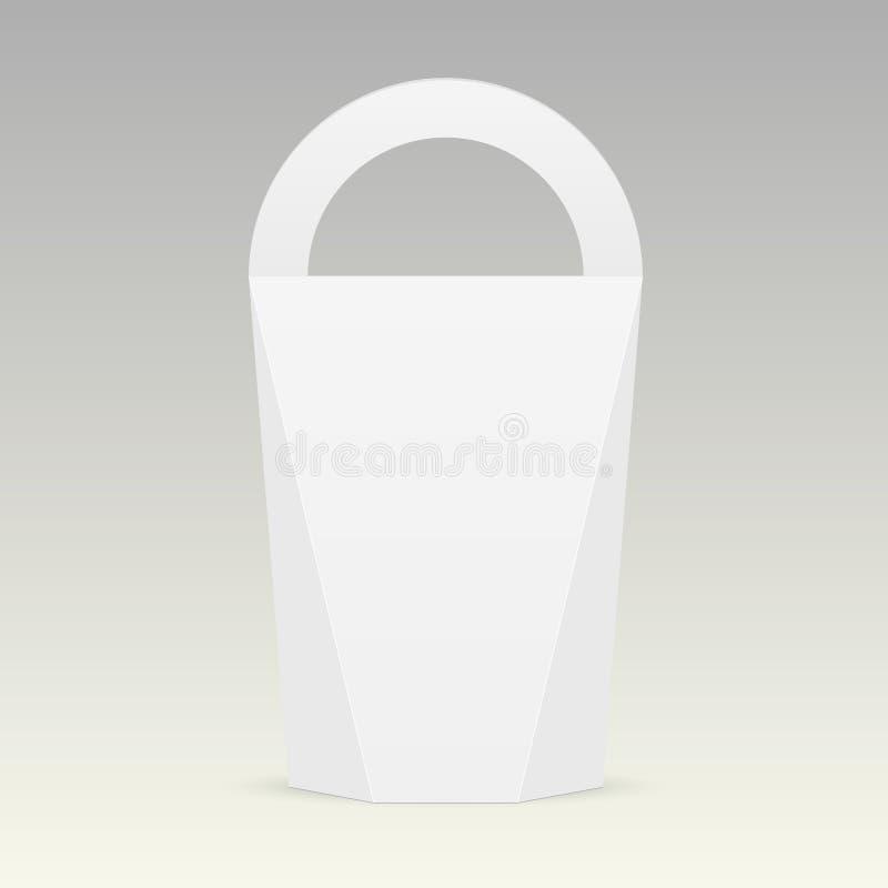 Biały karton niesie pudełkowatą torbę pakuje dla jedzenia, prezenta lub innych produktów z rękojeścią, Wektoru egzamin próbny w g ilustracji