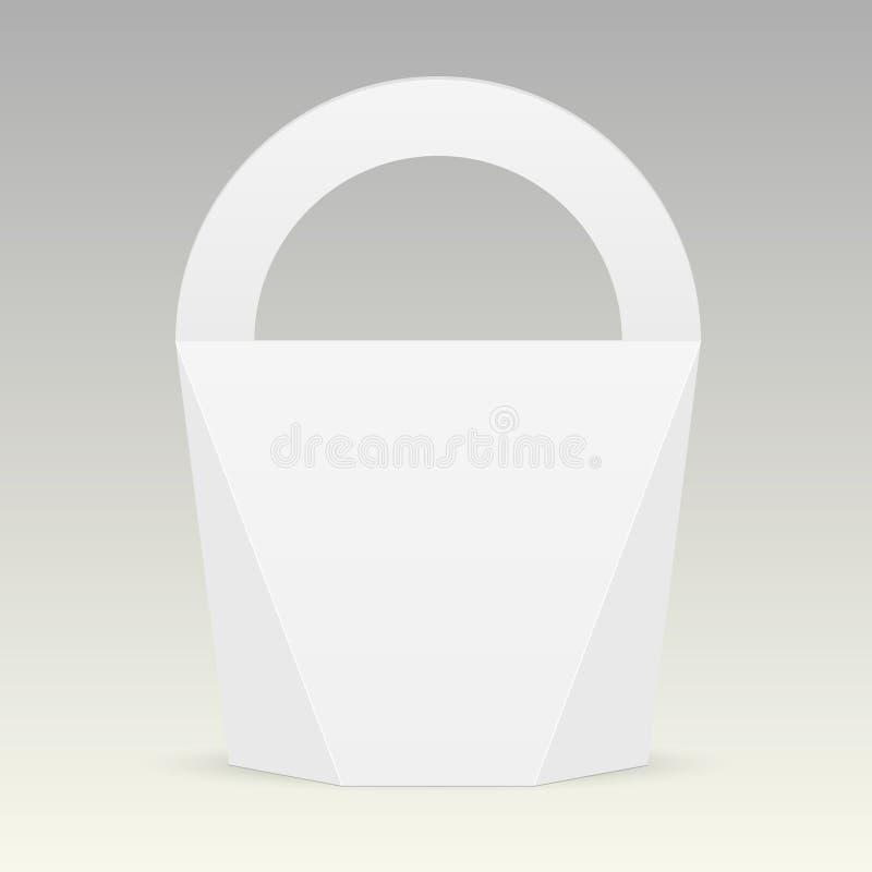 Biały karton niesie pudełkowatą torbę pakuje dla jedzenia, prezenta lub innych produktów z rękojeścią, Wektoru egzamin próbny w g ilustracja wektor
