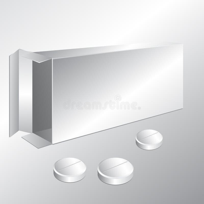 biały karton pudełkowate pigułki ilustracji