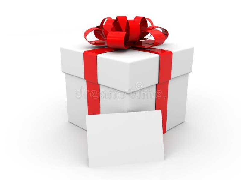 Biały karton z czerwonym faborkiem i łękiem dar pole białe tło ilustracji